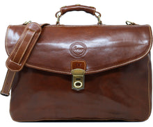 Cenzo Italian Leather Briefcase Messenger Bag monogram