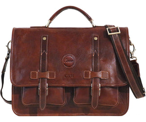 Cenzo Italian Leather Backpack Briefcase Convertible front monogram