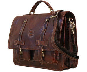 Cenzo Italian Leather Backpack Briefcase Convertible front side
