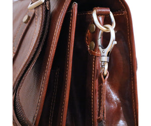 Cenzo Italian Leather Backpack Briefcase Convertible close