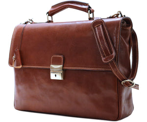 Cenzo Italian Leather Messenger Briefcase Laptop Bag 2
