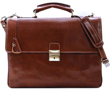 Cenzo Italian Leather Messenger Briefcase Laptop Bag 1