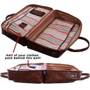 Cenzo Italian Leather Suitcase Duffle Travel Bag 2