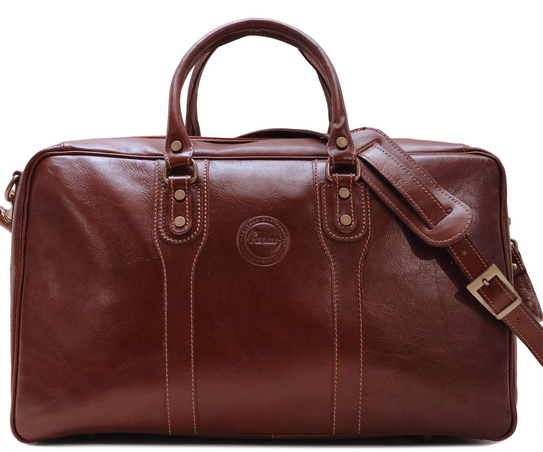 Cenzo Italian Leather Suitcase Duffle Travel Bag 1