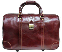 Cenzo Italian Leather Trolley Bag Wheeled Luggage 1