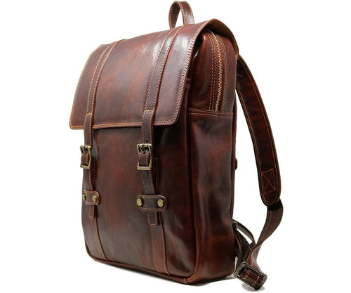 Leather Backpack Cenzo Italian Large Shoulder Bag Brown