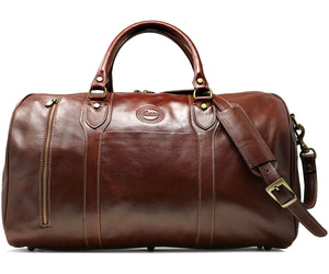 Cenzo Italian Leather Duffle Travel Bag Zipper Pocket 2