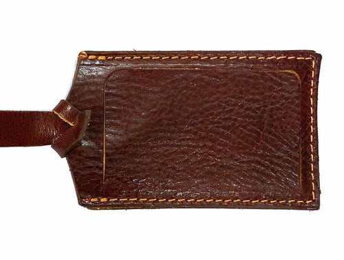 Cenzo Leather Luggage Tag brown