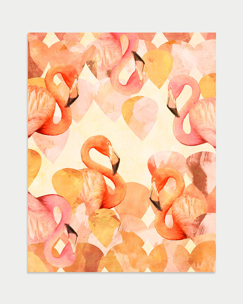 Flamingo Mingle Art Print