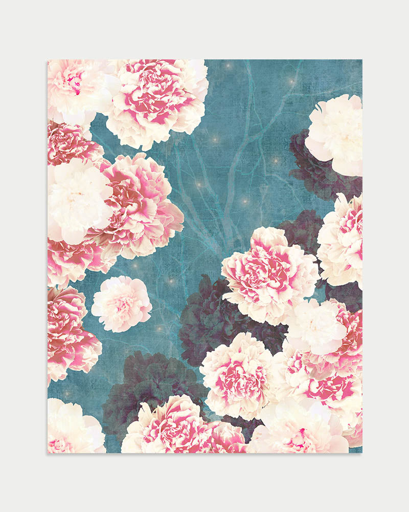 Night Peonies Art Print