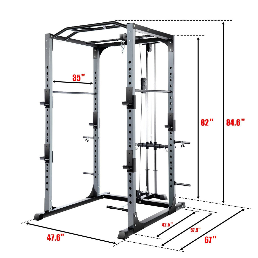 VANSWE-PR005 Power Rack 1300-Pound Capacity Olympic Power Cage Home Gym Equipment Vanswe