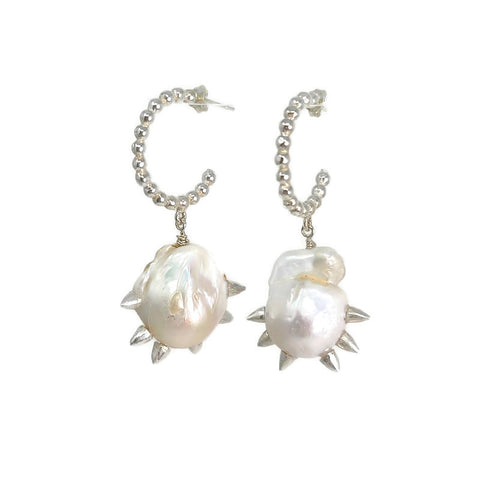 Spike baroque pearl hoop earrings rudyblu jewelry