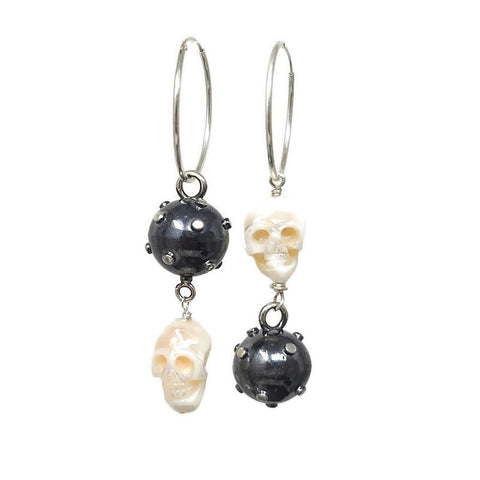 true grit skull navel mine hoop earrings rudyblu jewelry