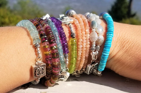 Stacking bracelets gemstone beaded bracelets rudyblu jewelry