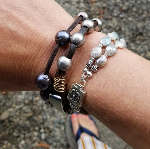 stackable bracelets pearls, metal and gemstones rudyblu jewelry