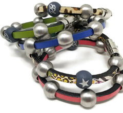 Women's leather beaded bracelets for charity rudyblu jewelry