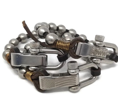 men's leather and steel bead bracelet for charity rudyblu jewelry