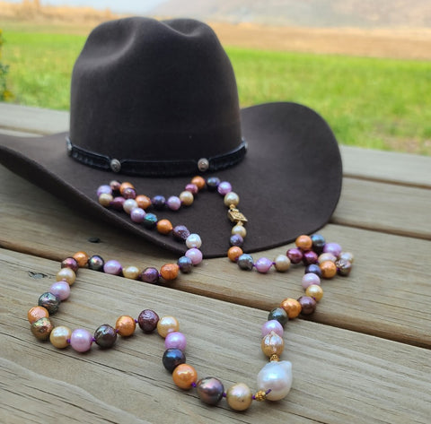 colorful long pearl necklace western style rudyblu jewelry