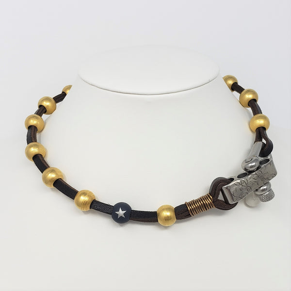 Leather & Gold Ball Shackle Necklace