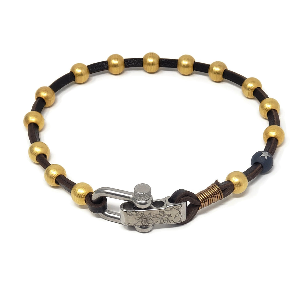 Leather & Gold Ball Shackle Choker
