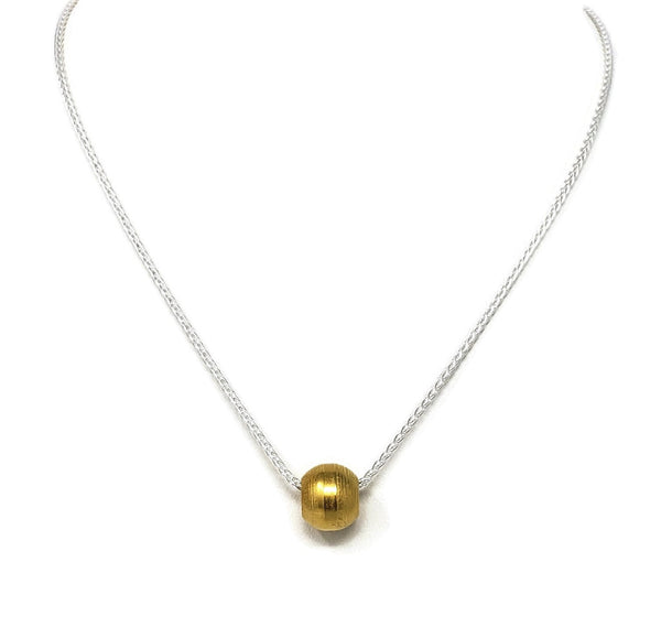 18K Gold Dipped Steel Bead Necklace