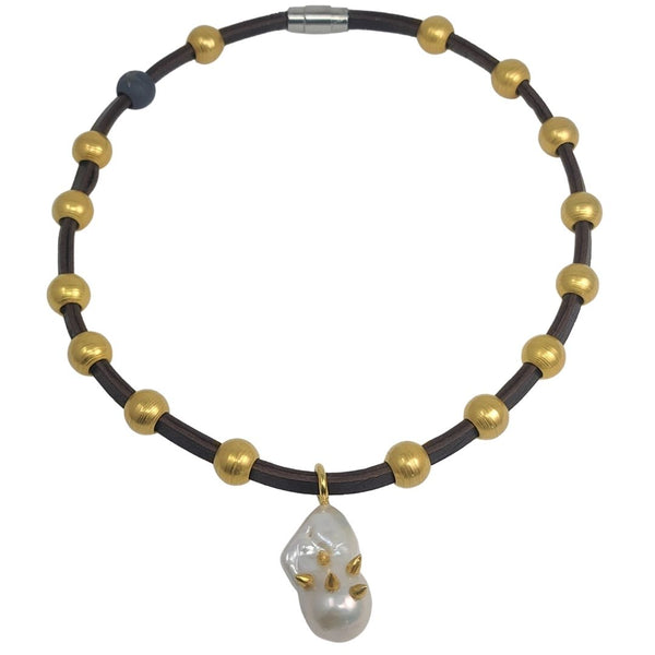 Gold Spiked Baroque Pearl Necklace