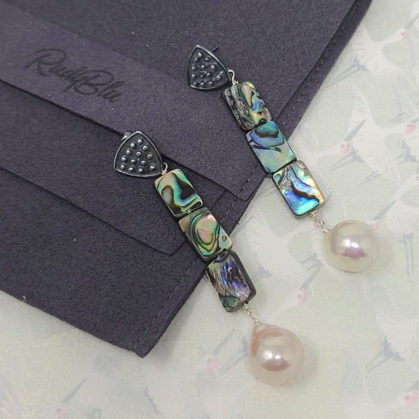 Abalone Drop Pearl Earrings