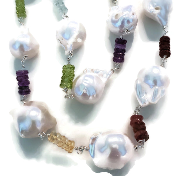 Long Baroque Pearl & Rainbow Gemstones Necklace