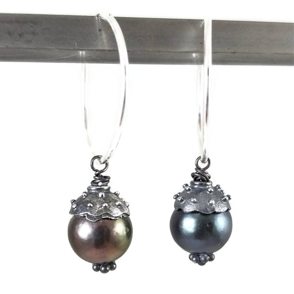 Black Pearl Hoop Drop Earrings