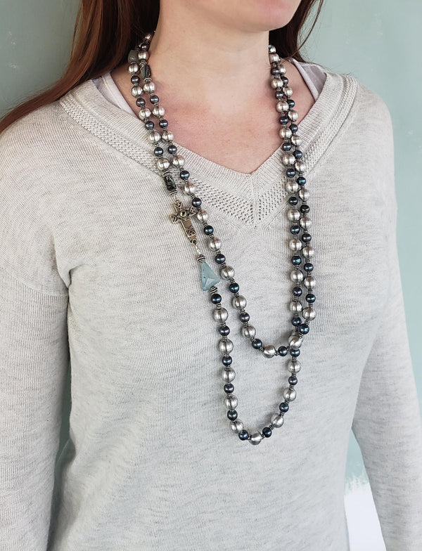 Long Aluminum Blue Pearl Wrap Necklace