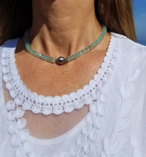 Aquamarine Gemstone Choker Necklace