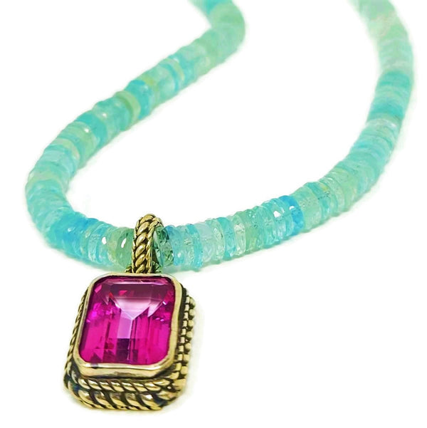 Aquamarine & Pink Topaz Pendant Necklace