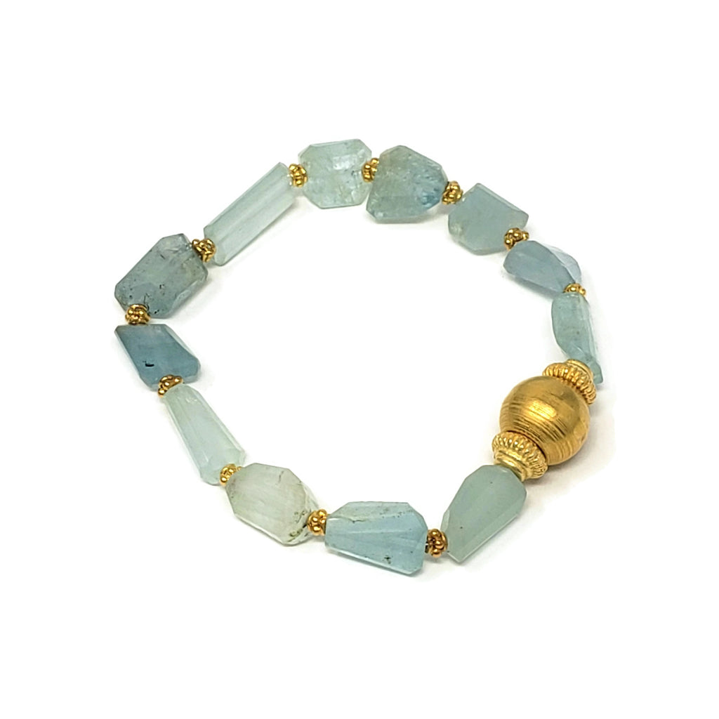 SOLD! - Raw Aquamarine Nugget Stretch Bracelet