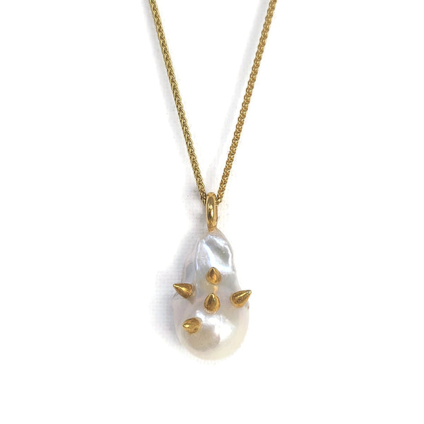 Gold Spike Baroque Pearl Necklace