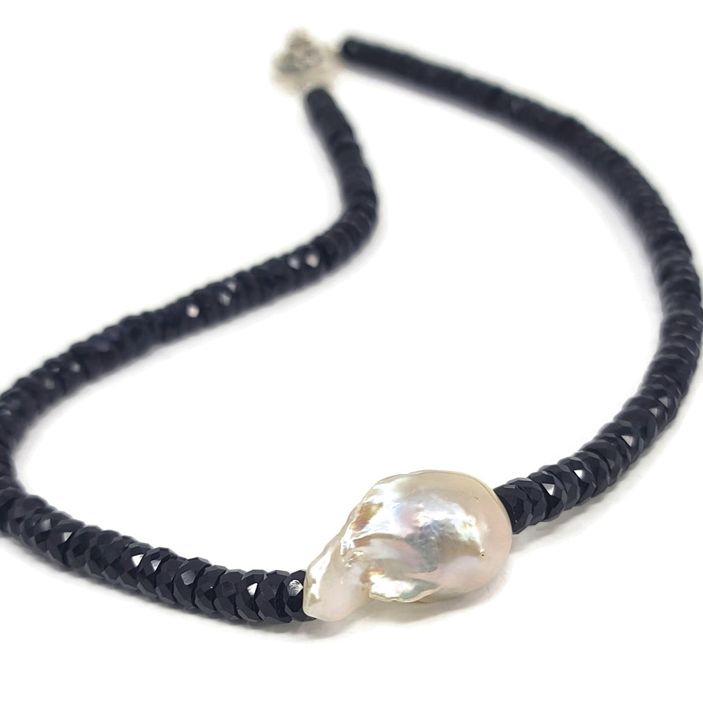Black Onyx Baroque Pearl Necklace