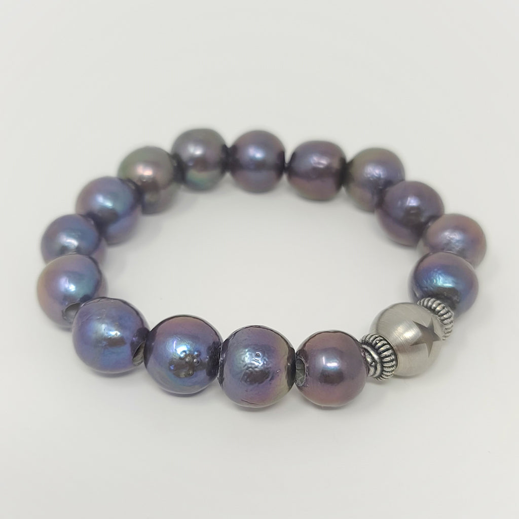 Black Edison Pearl Stretch Bracelet