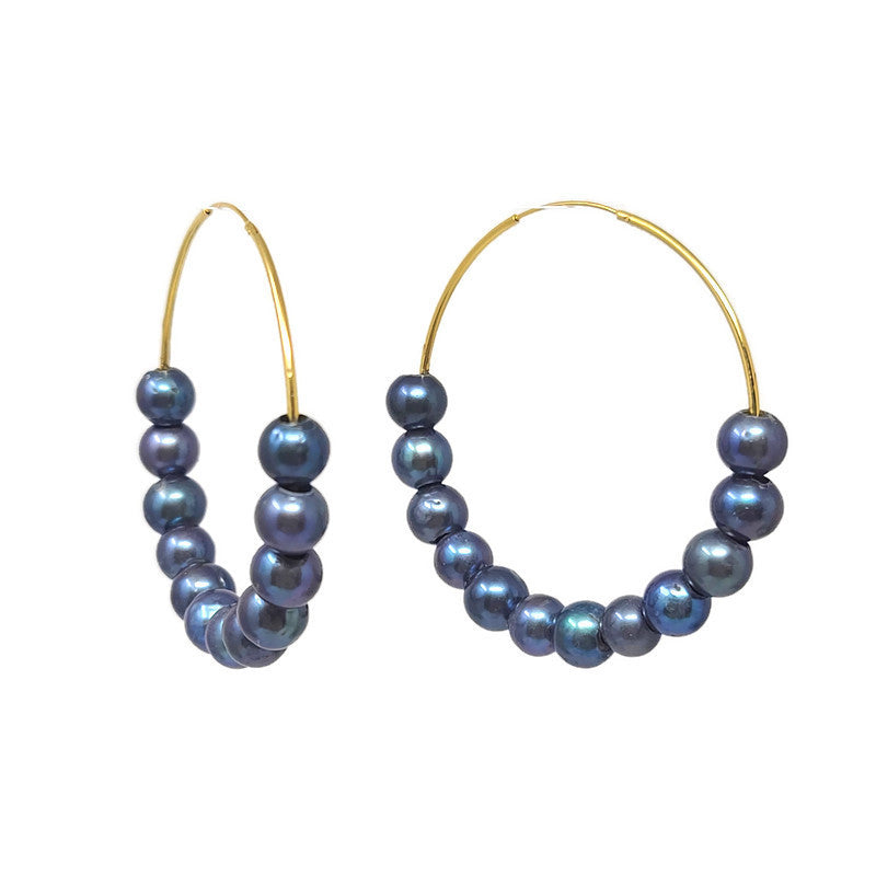 Oversized Black Pearl Gold Hoops