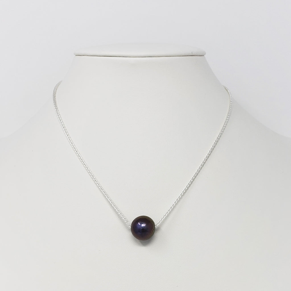 Black Pearl Sterling Silver Chain Necklace