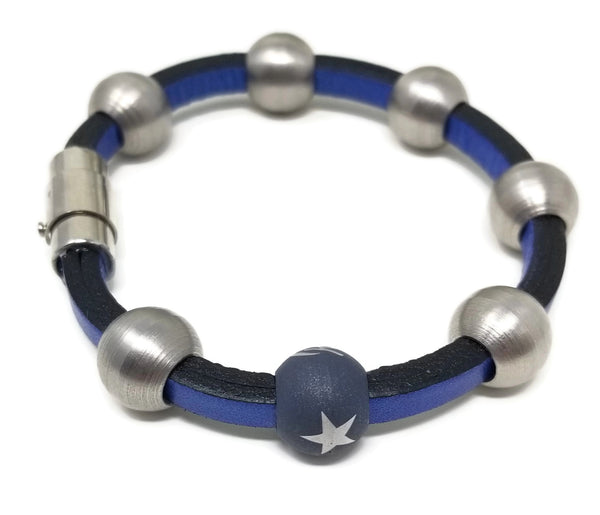 Blue Leather & Steel Stacking Bracelets