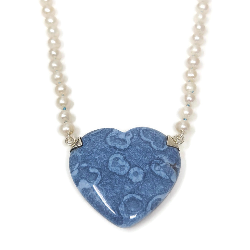 Blue Opal Heart Pendant & Pearl Necklace