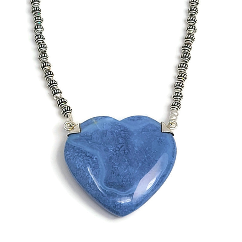 Blue Opal Heart Pendant Silver Beaded Necklace