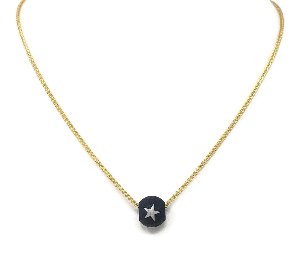 Blue Star Steel Bead Necklace