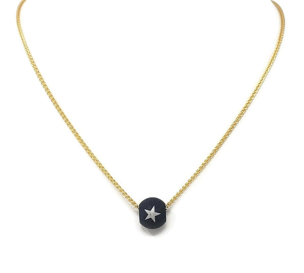 RB Blue Star Steel Bead Necklace