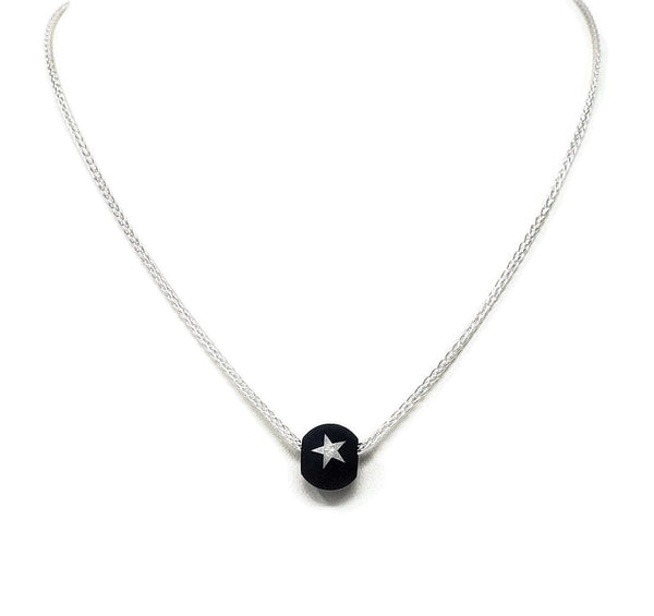 Blue Steel Star Bead Necklace