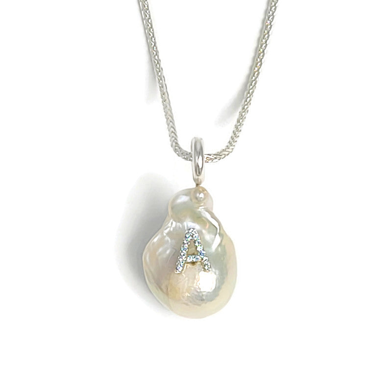 Sky Blue Topaz Initial Pearl Pendant Necklace