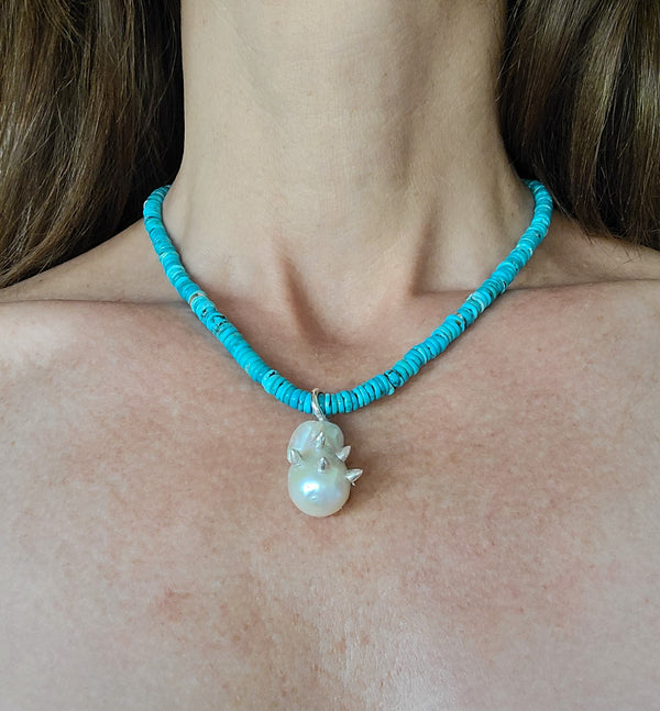 Turquoise & Spike Studded Pearl Pendant Necklace
