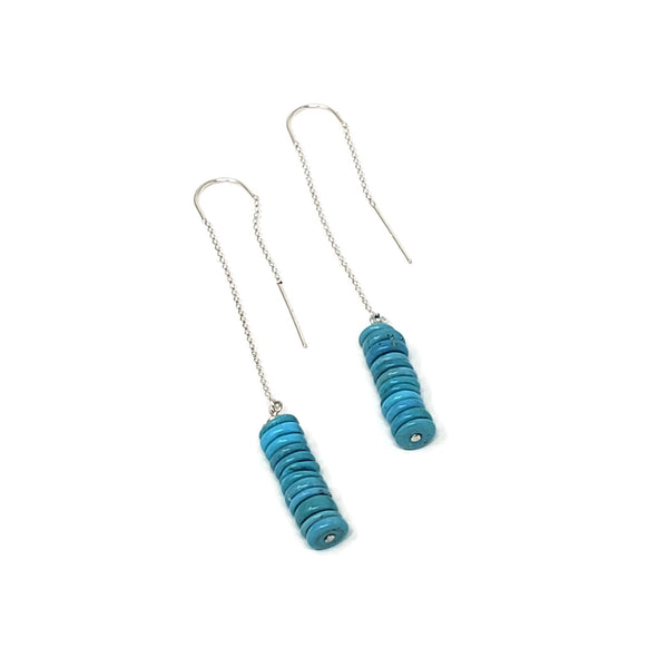 Blue Turquoise Threader Earrings
