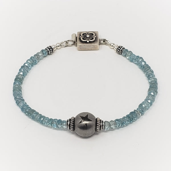 Blue Zircon Gemstone Bracelet