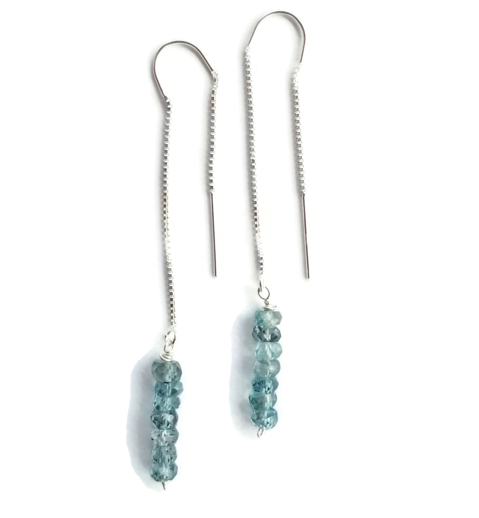 Blue Zircon Threader Earrings