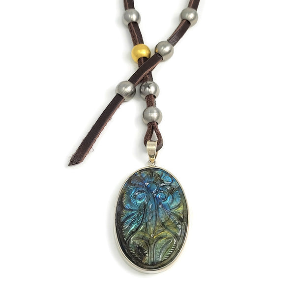 Carved Labradorite Oval Pendant Wrap Necklace